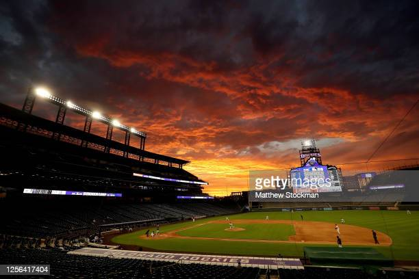 The Colorado Rockies play an intrasquad game during summer workouts at Coors Field on July 15, 2020 in Denver, Colorado.