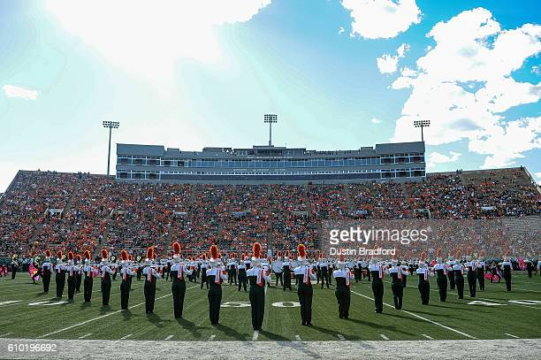 The Colorado State Rams marching band performs during half time of a game between the Colorado State Rams and the Northern Colorado Bears at Sonny...