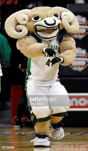 The Colorado State Rams mascot CAM the Ram performs during the team's quarterfinal game against the San Diego State Aztecs at the Conoco Mountain...