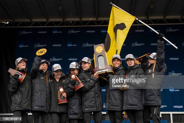 The Colorado women's cross country team celebrates their NCAA cross country championship team title at Thomas Zimmer Championship Course on November...