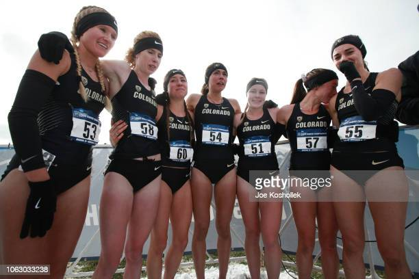 The Colorado Women's Cross Country team reacts after they found out they just won the Division I Women's Cross Country Championship held at the...