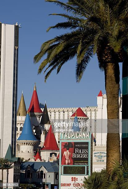 The colorful and whimsical spires of the Excalibur Hotel located on the famed Las Vegas Strip are viewed in this 2009 Las Vegas Nevada daytime...