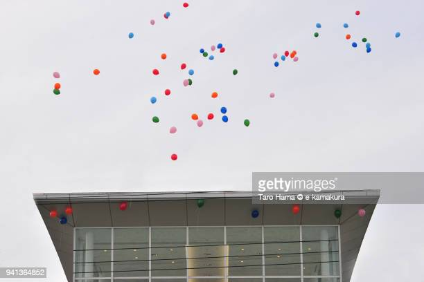 the colorful balloon in the event flying in the sky in japan - taro hama ストックフォトと画像