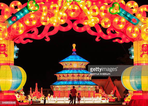 The colorful building  lanterns festival in Pattaya,Thailand
