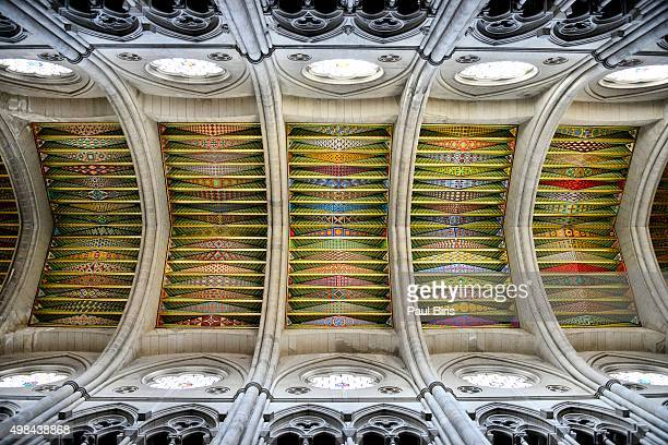 the colorful ceiling of the santa maría la real de la almudena cathedral, madrid, spain, europe. - royal cathedral stock pictures, royalty-free photos & images