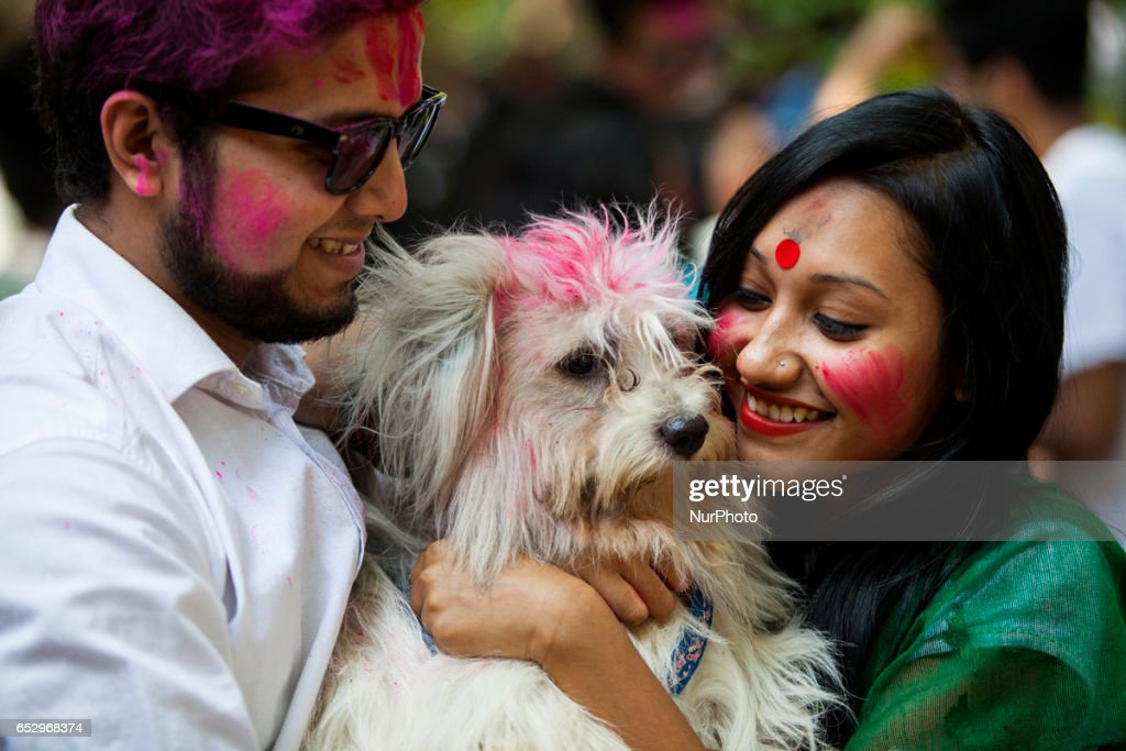 The colorful festival of Holi is celebrated at Fine Arts department of Dhaka University to mark start of the spring, in Dhaka, Bangladesh,on March 13, 2017
