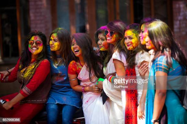 The colorful festival of Holi is celebrated at Fine Arts department of Dhaka University to mark start of the spring in Dhaka Bangladeshon March 13...