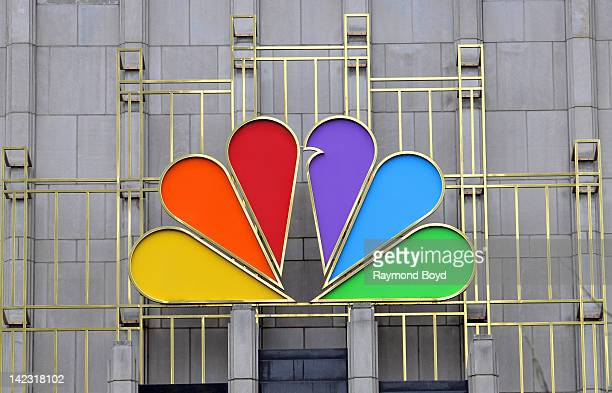 The colorful logo of NBC on the NBC Tower, in Chicago, Illinois on MARCH 25, 2011.