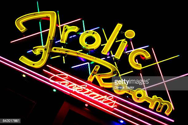 The colorful neon sign of the Frolic Room a Hollywood landmark Originally a speakeasy in the 1930's the bar on Hollywood Boulevard remains unchanged...
