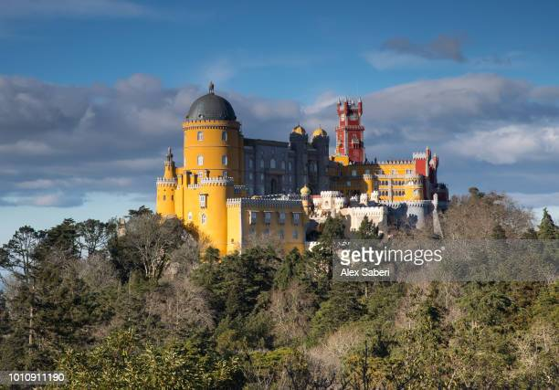 The colorful Pena palace at sunset