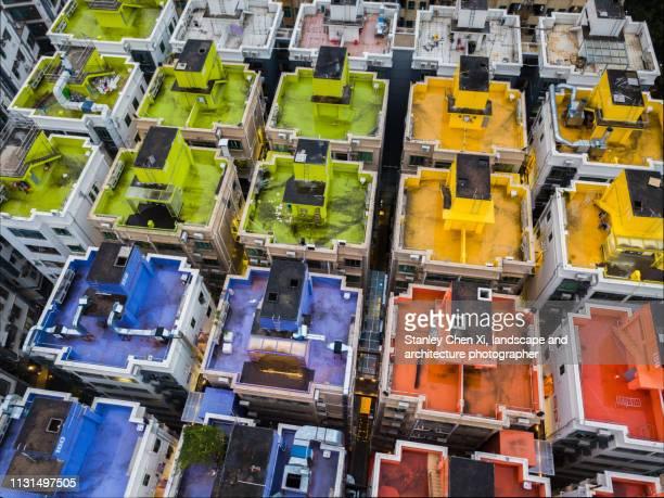 the colorful rooftop of shuiwei villa in shenzhen - shenzhen - fotografias e filmes do acervo
