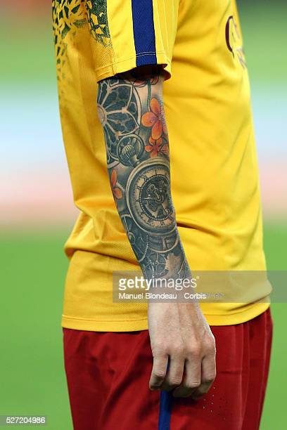 The colorful tattoo of Lionel Messi is pictured ahead of the Joan Gamper Trophy FC Barcelona vs AS Roma at Camp Nou Stadium in Barcelona Spain on...