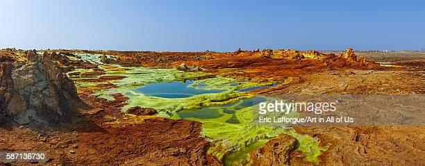 The colorful volcanic landscape of dallol in the danakil depression, afar region, dallol, Ethiopia on February 26, 2016 in Dallol, Ethiopia.
