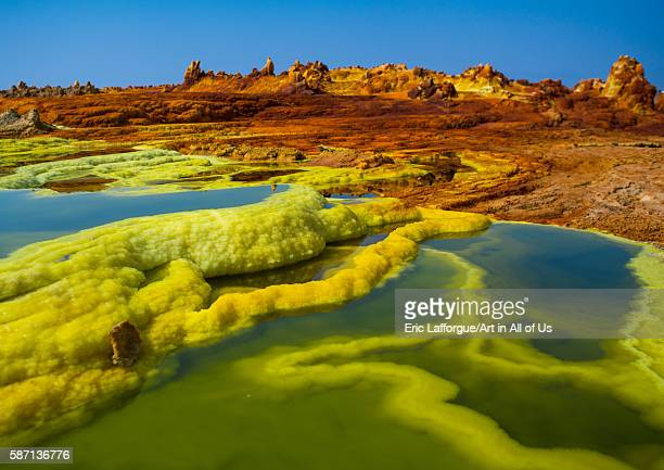 The colorful volcanic landscape of dallol in the danakil depression afar region dallol Ethiopia on February 26 2016 in Dallol Ethiopia