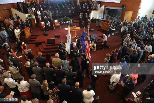 The Colors are withdrawn during a ceremony in which William G Gross was sworn in as Boston's 42nd Police Commissioner by Mayor Martin J Walsh at the...