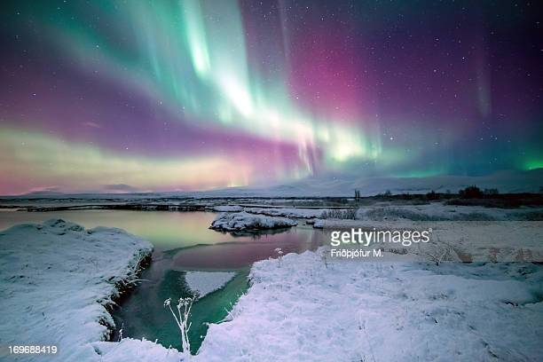 the colors of aurora - pingvellir national park stock photos and pictures
