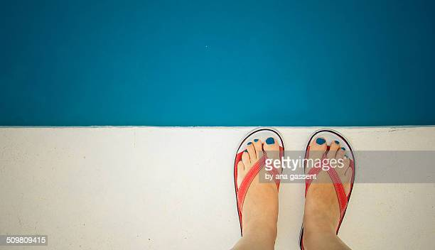 the colors of summer - white women feet stock pictures, royalty-free photos & images