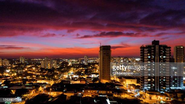 the colors of winter in a magnificent sunset over the city. - crmacedonio stock pictures, royalty-free photos & images