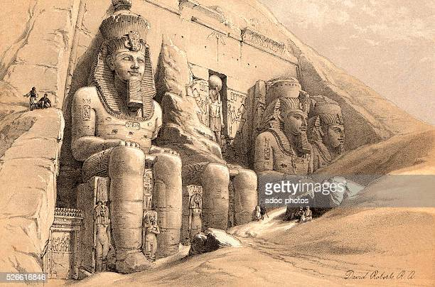 The colossal figures of the great temple of AbooSimbel Ca 1845 Lithography by David Roberts