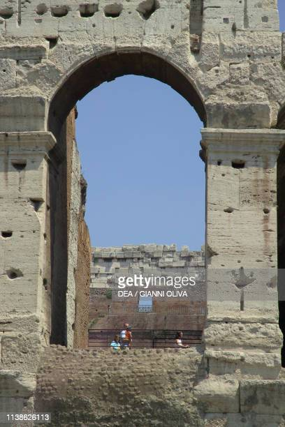 The Colosseum also known as the Flavian Amphitheatre Rome Lazio Italy 1st century detail