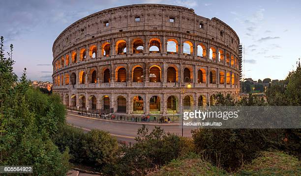 The Colosseum at dusk.