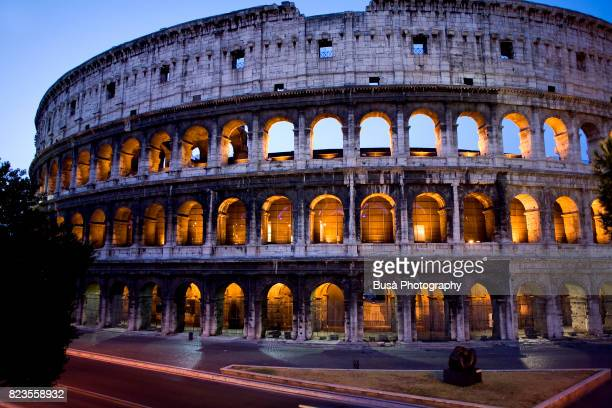 The Colosseum illuminated at twilight, Rome, Italy