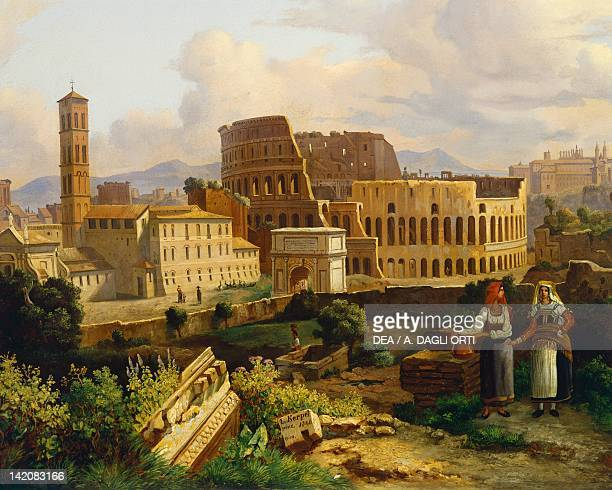 The Colosseum in Rome by Lipot Kerpel oil on canvas Italy 19th century 595 x77 5 cm Detail
