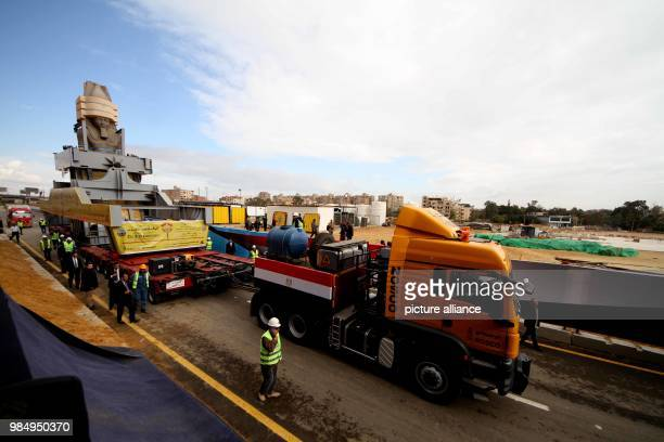 The colossus of Pharaoh King Ramses II is being transferred to it's permanent display spot at the Grand Egyptian Museum in Giza Egypt 25 January 2018...