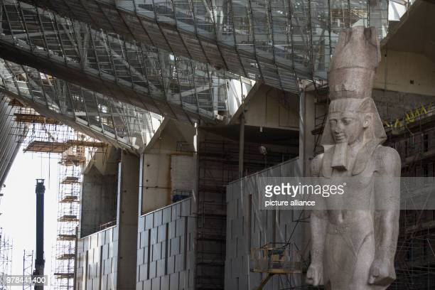 The colossus of Pharaoh King Ramses II is seen at it's permanent display spot inside the Grand Egyptian Museum in Giza Egypt 26 April 2018 Photo...
