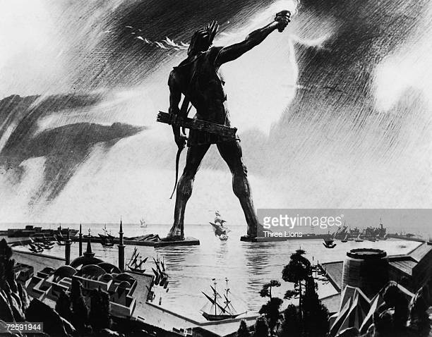 The Colossus of Rhodes a giant statue of the sun god Helios measuring 34 metres towers over the island's harbour circa 250 BC Completed in 280 BC it...