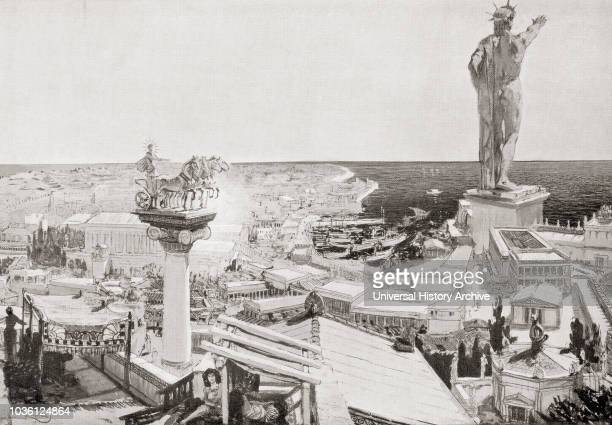 The Colossus of Rhodes A statue of the Greek titangod of the sun Helios erected in the city of Rhodes Greece by Chares of Lindos in 280 BC One of the...