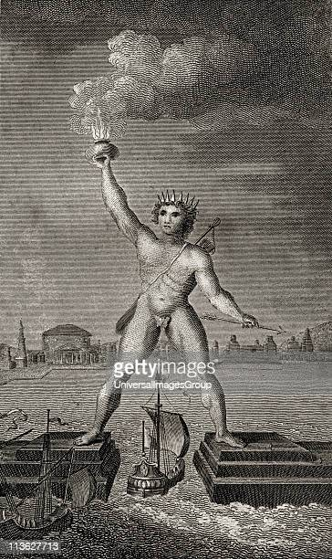 The Colossus of Rhodes Engraved by Angus From the book The Gallery of Nature and Art volume II Published London c1823