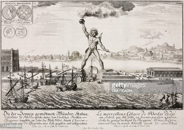 The Colossus of Rhodes one of the Seven Wonders of the Ancient World 3rd century BC South Aegean Greece engraving from Entwurff einer historischen...