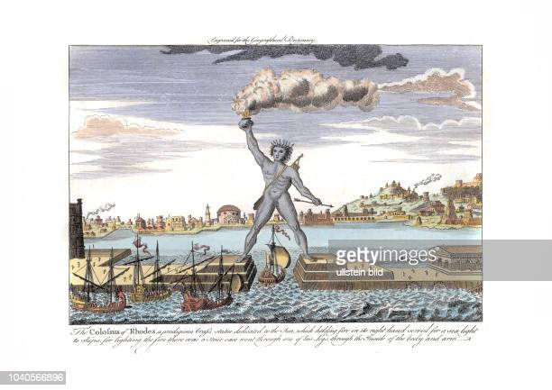 The Colossus of Rhodos engraved for the New Geographical Dictionary Historisierende Darstellung London 1790