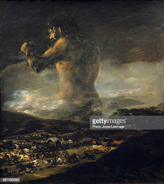 The Colossus Silhouette of a giant walking through a dark landscape causing fear death and misery as people flee in panic it's seen as a symbol of...