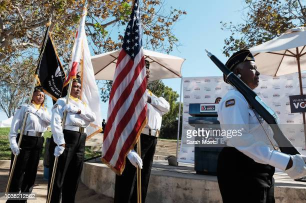 The colour guard presents the flag at the South Bay Pledge to Vote Rally hosted by Women's March Los Angeles and National Women's Political Caucus...