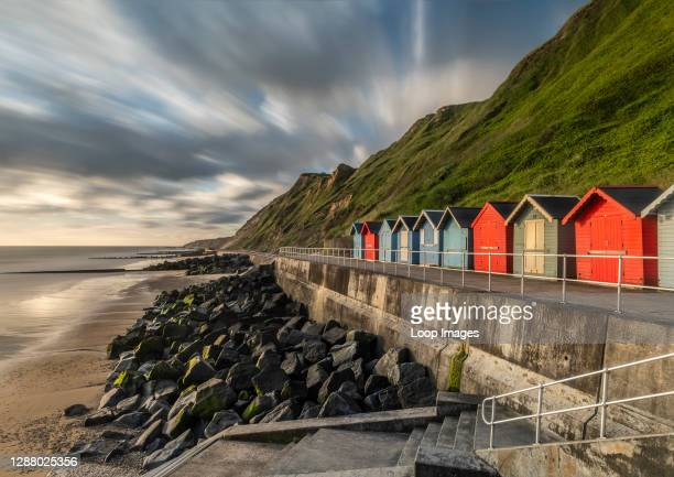 The colourful beach huts at Sheringham beach on the Norfolk Coast.