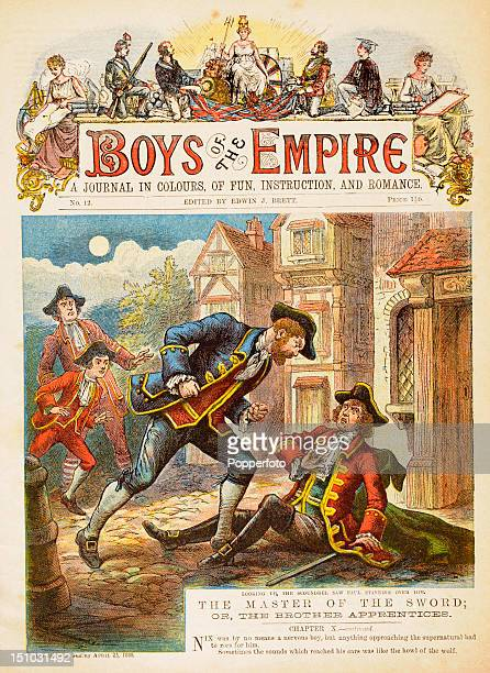 The colourful cover of the 'Boys of The Empire' magazine a weekly journal published in Victorian Britain featuring adventure stories and colour...