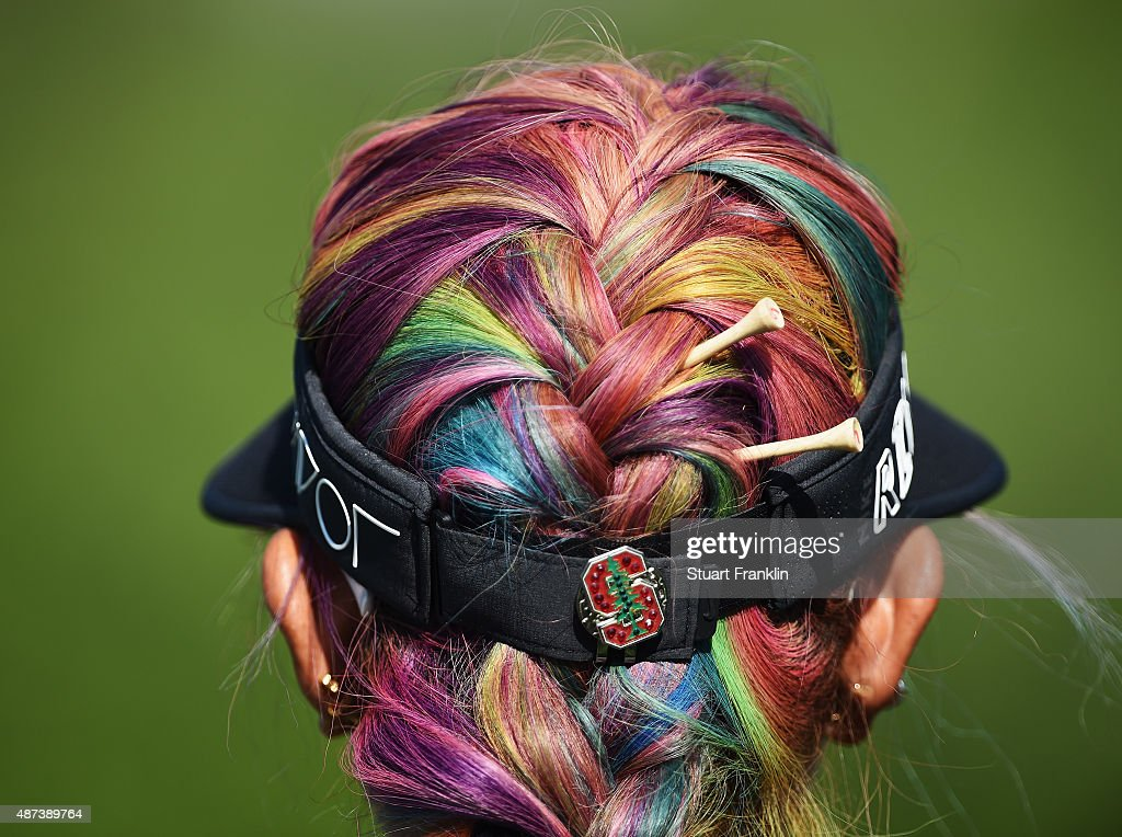 The colourful hair of Michelle Wie of USA during practice prior to the start of the Evian Championship Golf on September 9, 2015 in Evian-les-Bains, France.