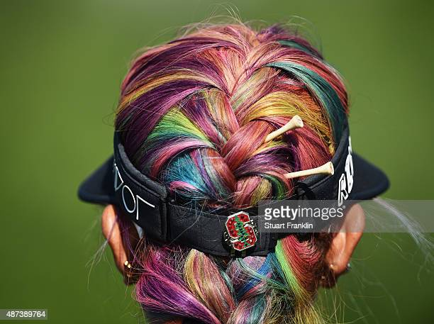 The colourful hair of Michelle Wie of USA during practice prior to the start of the Evian Championship Golf on September 9 2015 in EvianlesBains...