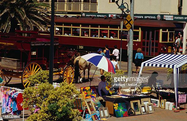 the colourful weekend market at glenelg. - adelaide market stock pictures, royalty-free photos & images