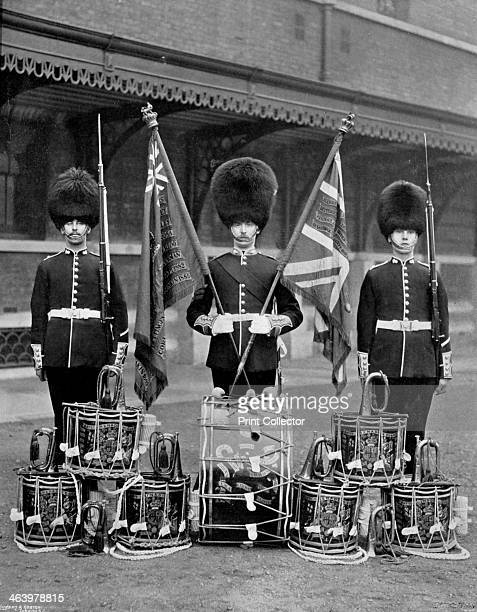 The colours and drums of the 2nd Grenadier Guards 1896 A print from The Navy and Army Illustrated 16th October 1896