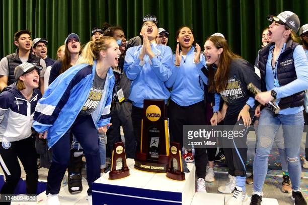 The Columbia Lions celebrate their national title during the Division I Women's Fencing Championship held at The Wolstein Center on the Cleveland...