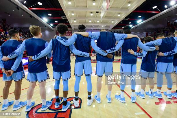 The Columbia Lions stand for the national anthem prior to the game against the St. John's Red Storm at Carnesecca Arena on November 20, 2019 in New...
