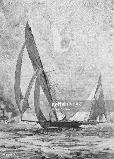 The Columbia outstrips the Shamrock I to win the America's Cup October 1899 An engraving after Seppings Wright from 'Cassell's Illustrated History of...