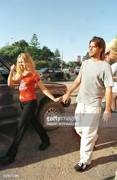 The Columbian singer Shakira Mebarak walks with her boyfriend Antonio De La Rua the son of the President of Argentina Fernando De La Rua in Maldonado...