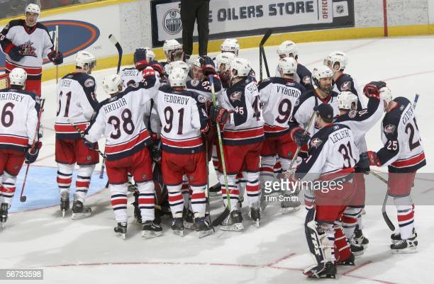 The Columbus Blue Jackets celebrate their 2-1 victory after a shootout against the Edmonton Oilers on February 2, 2006 at Rexall Place in Edmonton,...