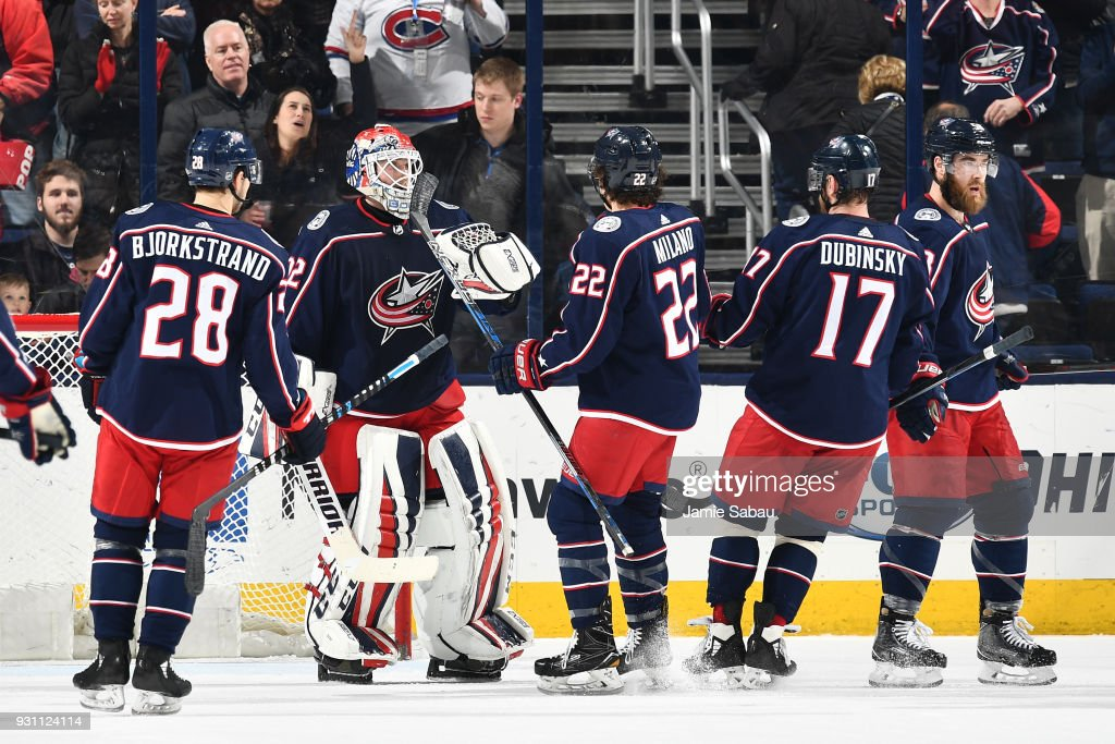 The Columbus Blue Jackets celebrate with goaltender Sergei Bobrovsky #72 of the Columbus Blue Jackets after defeating the Montreal Canadiens 5-2 in a game on March 12, 2018 at Nationwide Arena in Columbus, Ohio.