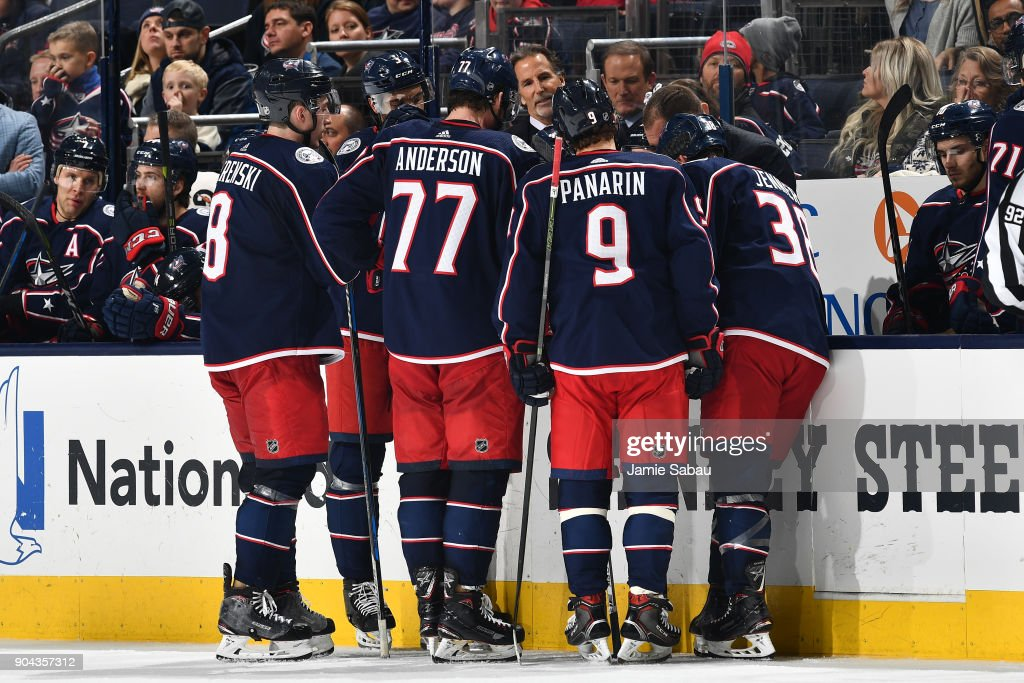 The Columbus Blue Jackets take a timeout during the third period of a game against the Vancouver Canucks on January 12, 2018 at Nationwide Arena in Columbus, Ohio.