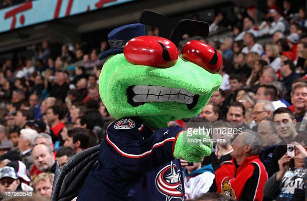 The Columbus Blue Jackets team mascot Stinger cheers during the 2012 Tim Hortons NHL AllStar Game at Scotiabank Place on January 29 2012 in Ottawa...